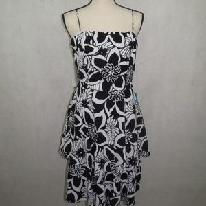 SL Fashions Dress Size 8 Straps Flowery Flare Midi